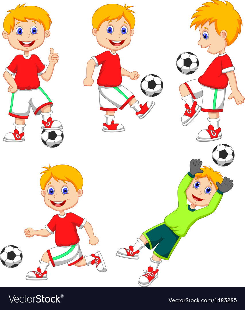Boy cartoon playing soccer vector | Price: 3 Credit (USD $3)