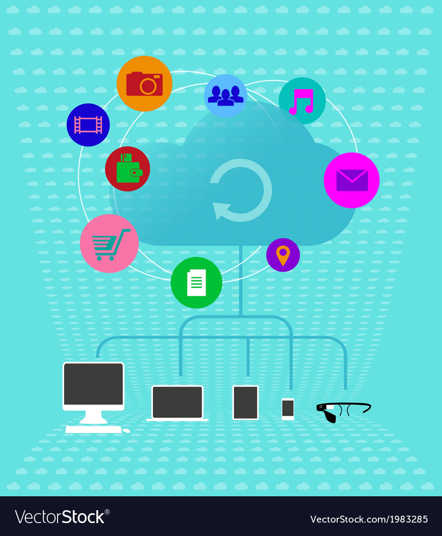 Colored cloud technologies - infographics vector | Price: 1 Credit (USD $1)