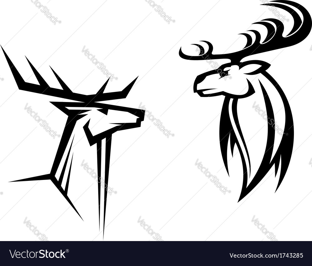 Deer mascots vector | Price: 1 Credit (USD $1)