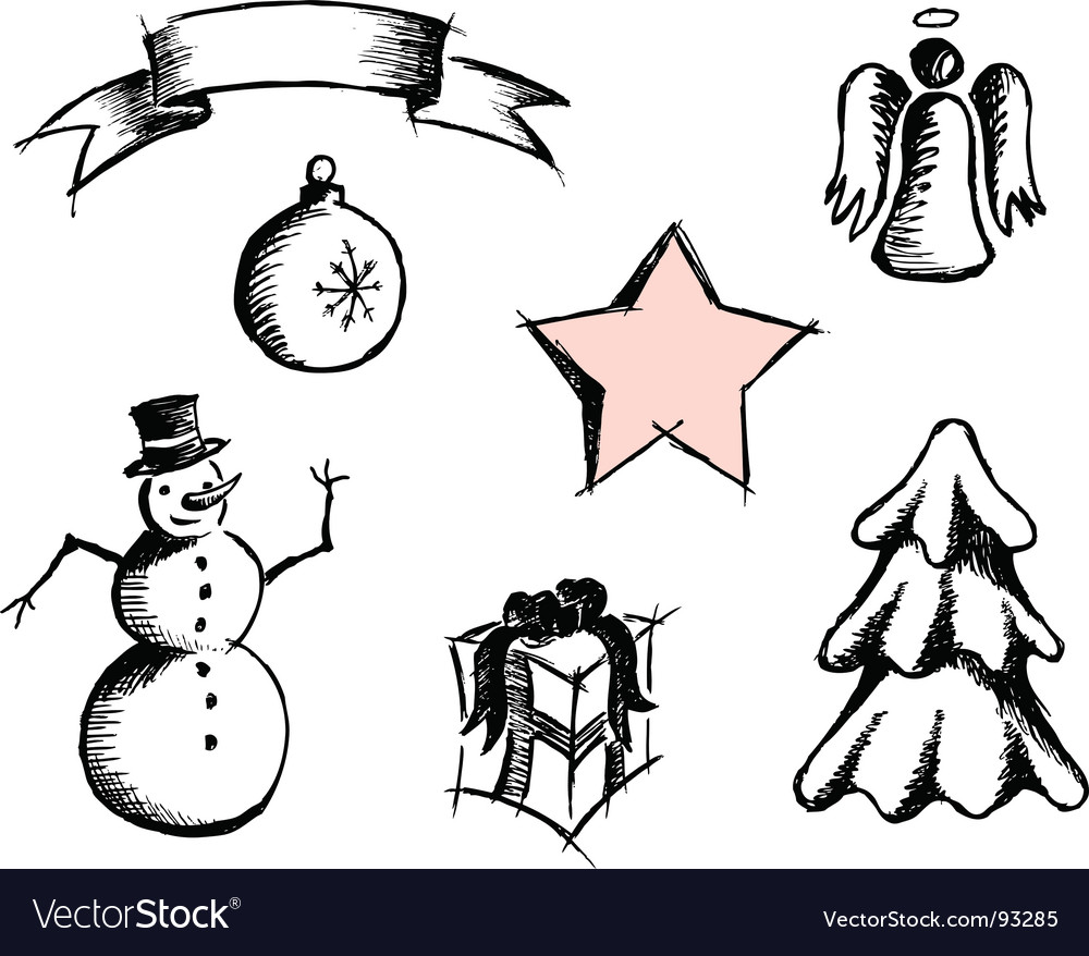 Hand drawn christmas icons vector | Price: 1 Credit (USD $1)