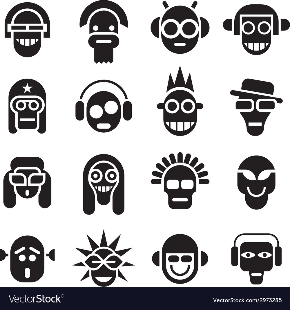 Head icons vector | Price: 1 Credit (USD $1)