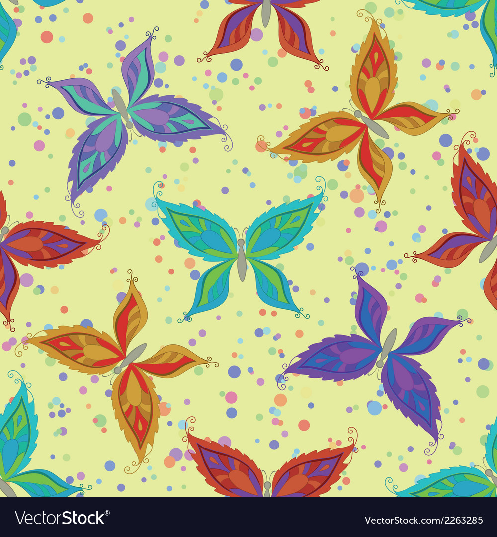 Seamless pattern colorful butterflies vector | Price: 1 Credit (USD $1)