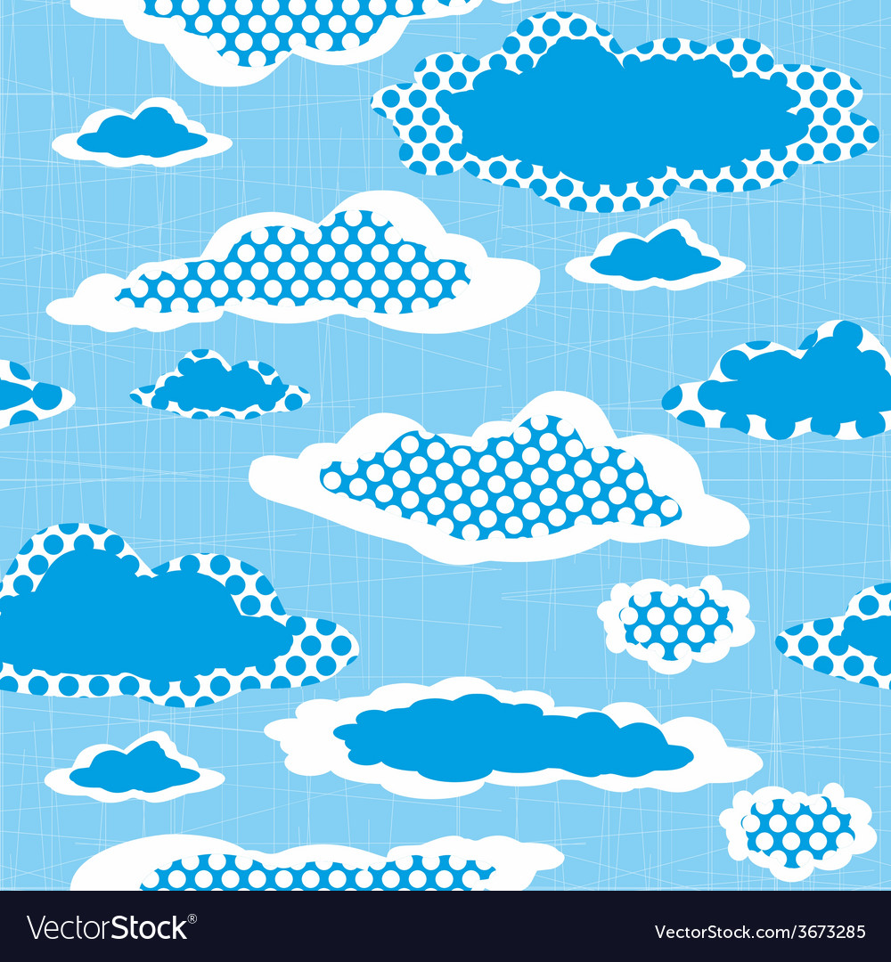 Seamless pattern with dotted clouds on the sharped vector | Price: 1 Credit (USD $1)