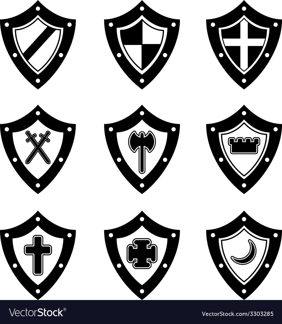 Shields black set vector | Price: 1 Credit (USD $1)