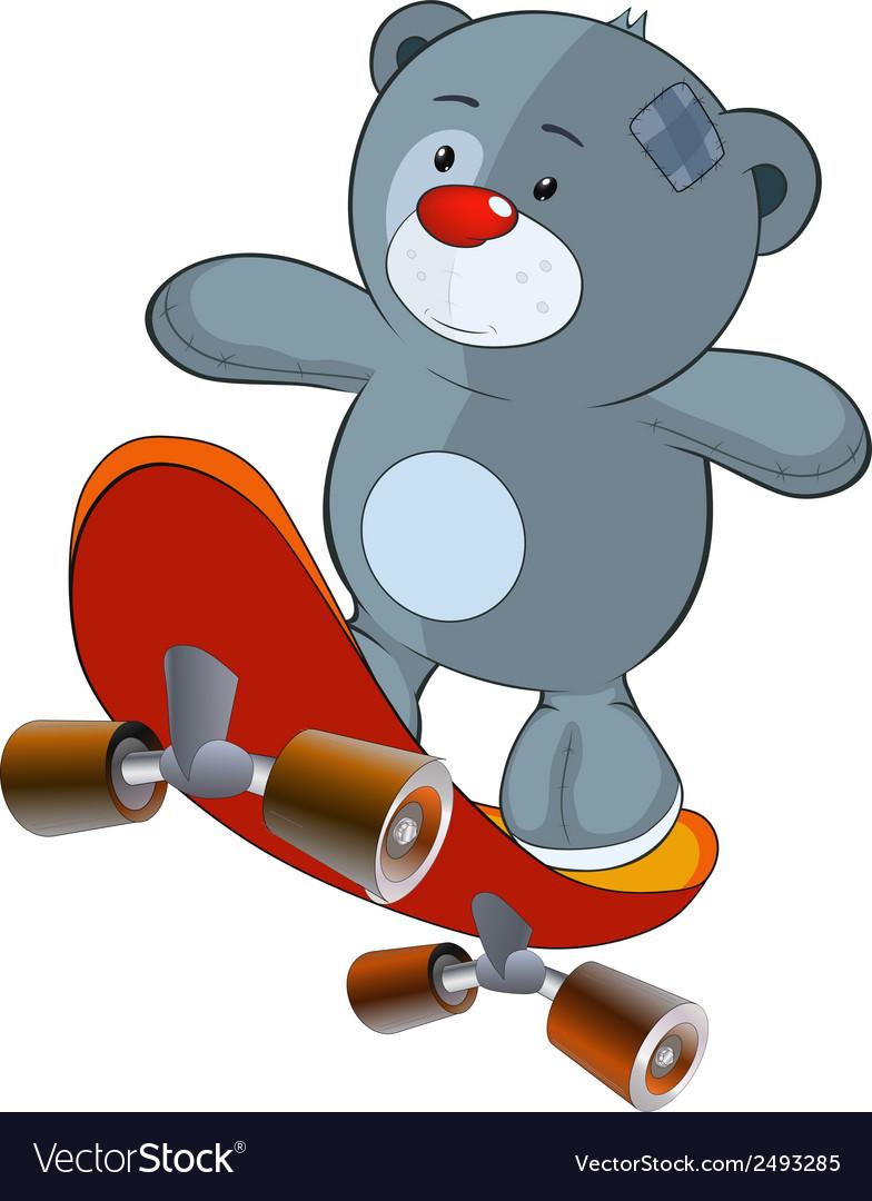 The stuffed toy bear cub and skateboard cartoon vector   Price: 1 Credit (USD $1)