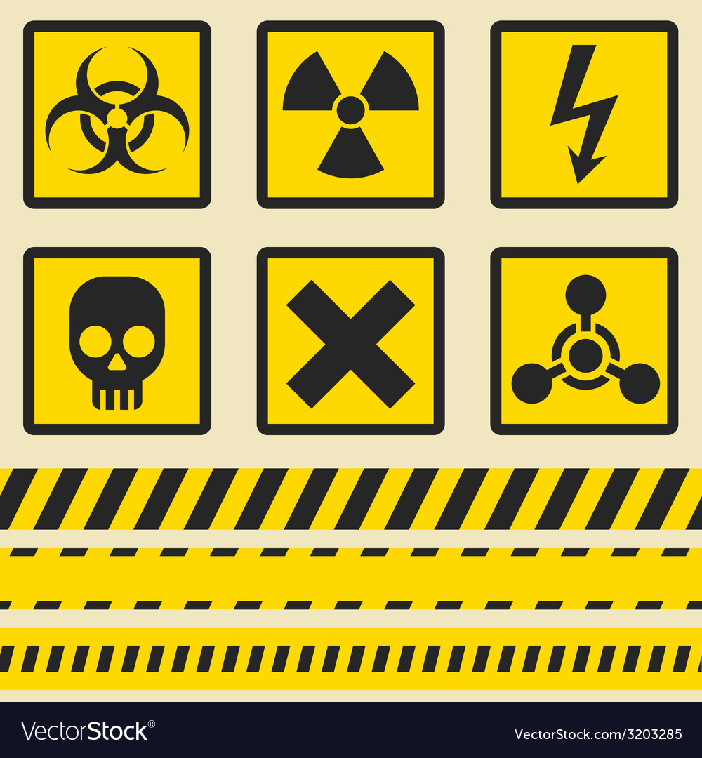 Warning signs symbols seamless tape vector | Price: 1 Credit (USD $1)