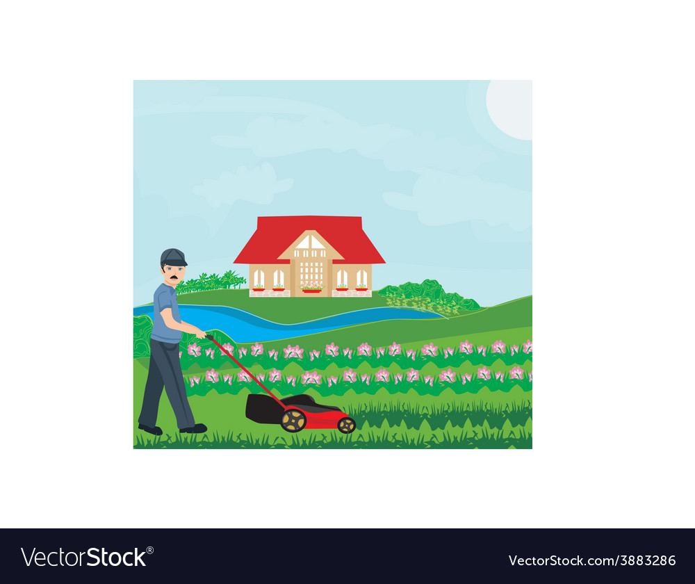 A of a man mowing the lawn vector | Price: 1 Credit (USD $1)
