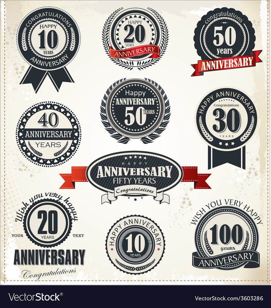 Anniversary sign collection retro design vector | Price: 1 Credit (USD $1)