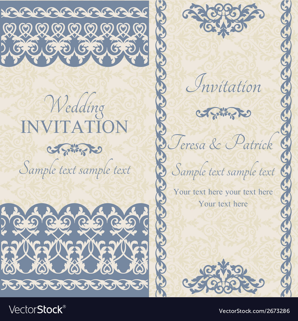 Baroque wedding invitation dark blue vector | Price: 1 Credit (USD $1)