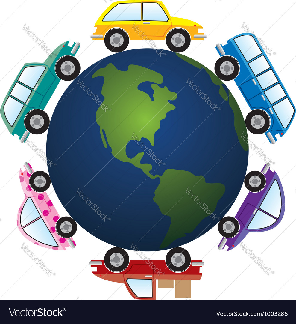 Cars around earth globe vector | Price: 1 Credit (USD $1)