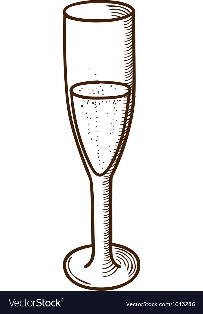 Champagne glass sketch vector | Price: 1 Credit (USD $1)