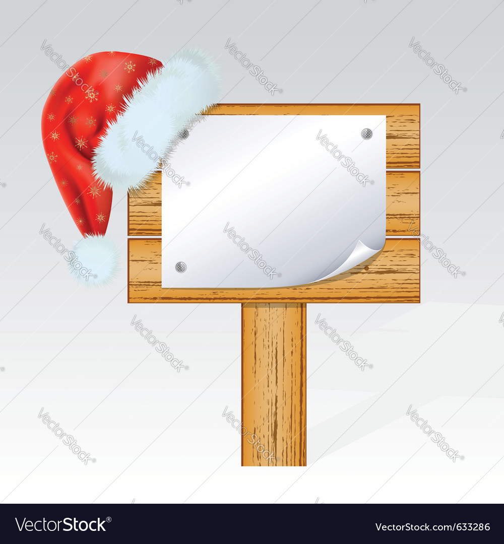 Christmas billboard with a hat of santa claus mes vector | Price: 1 Credit (USD $1)