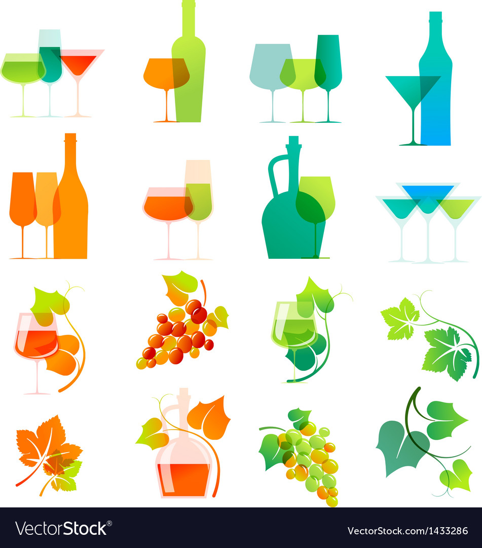 Colorful wine icons vector