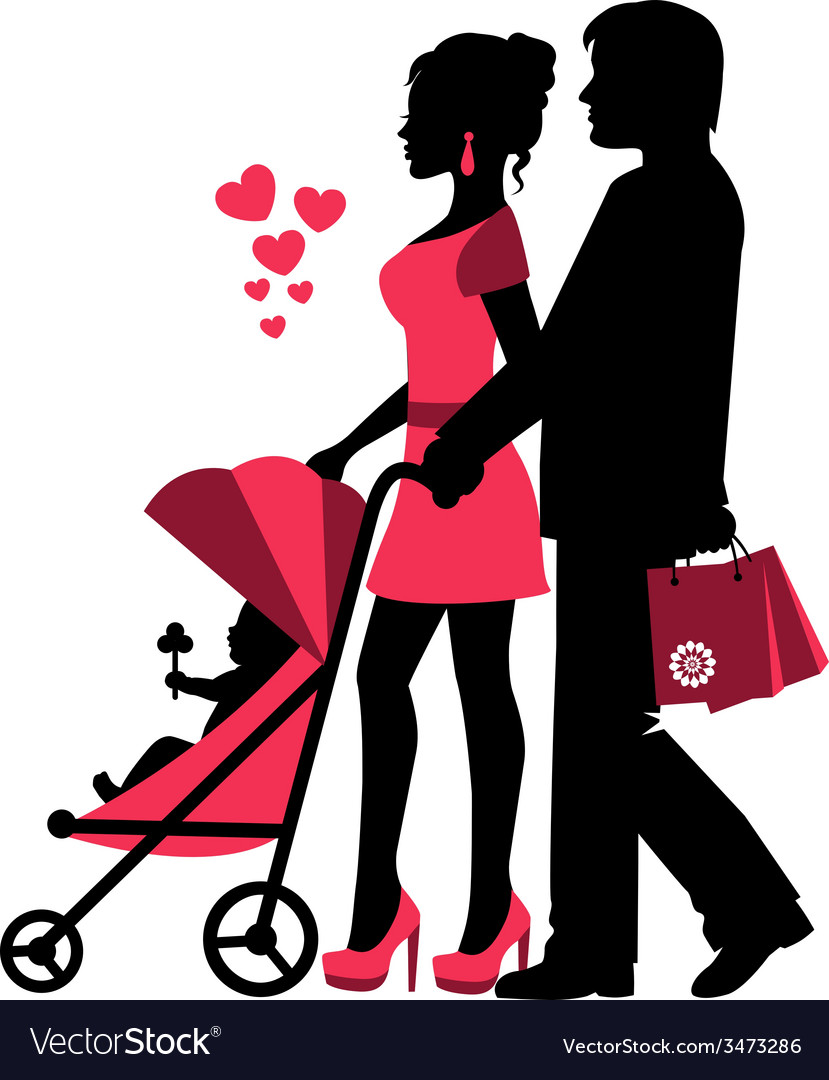 Couple rolls the stroller with a baby vector | Price: 1 Credit (USD $1)