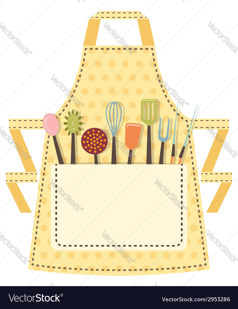 Dotted kitchen apron with kitchen utensils in the vector | Price: 1 Credit (USD $1)