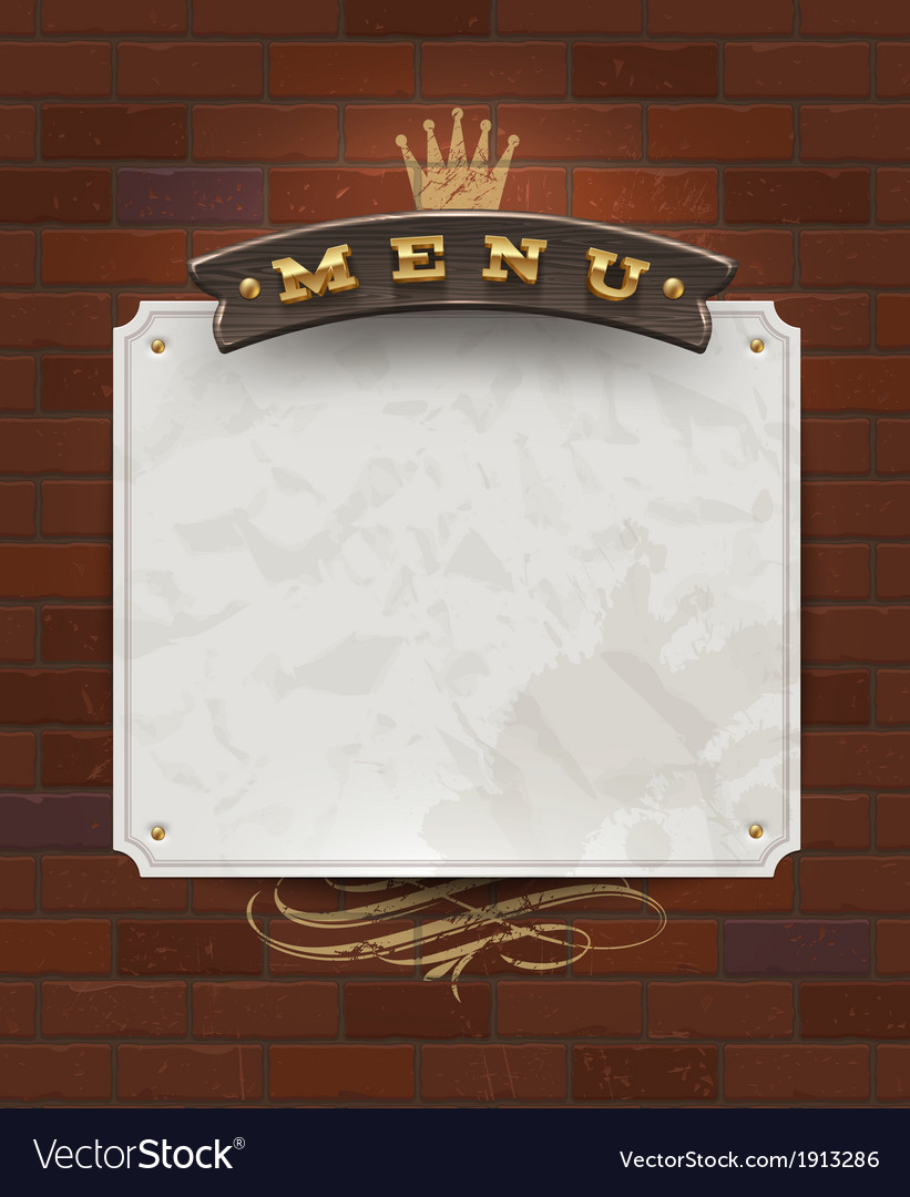 Menu wooden signboard and paper banner vector | Price: 1 Credit (USD $1)