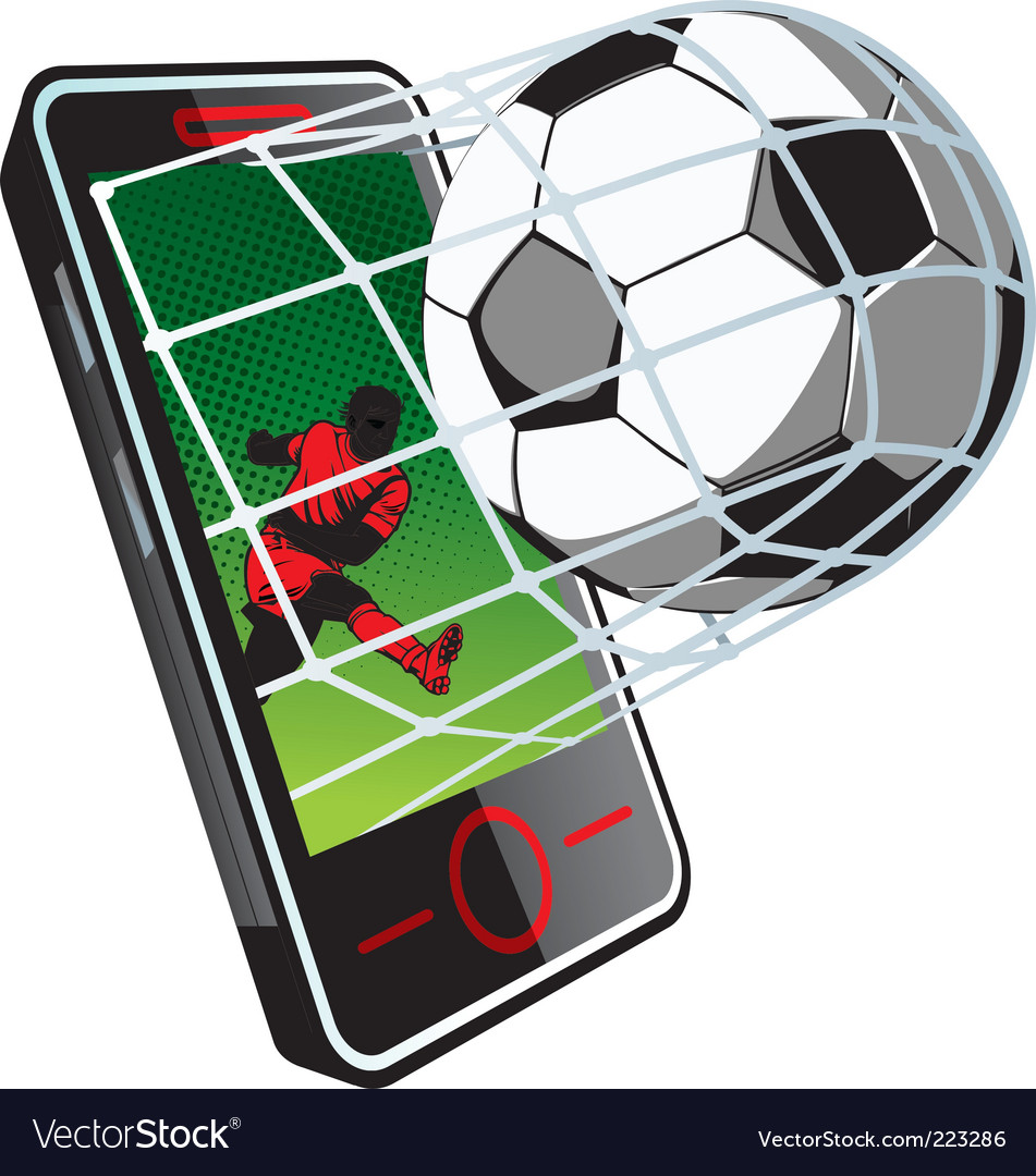 Soccer news on phone vector | Price: 3 Credit (USD $3)
