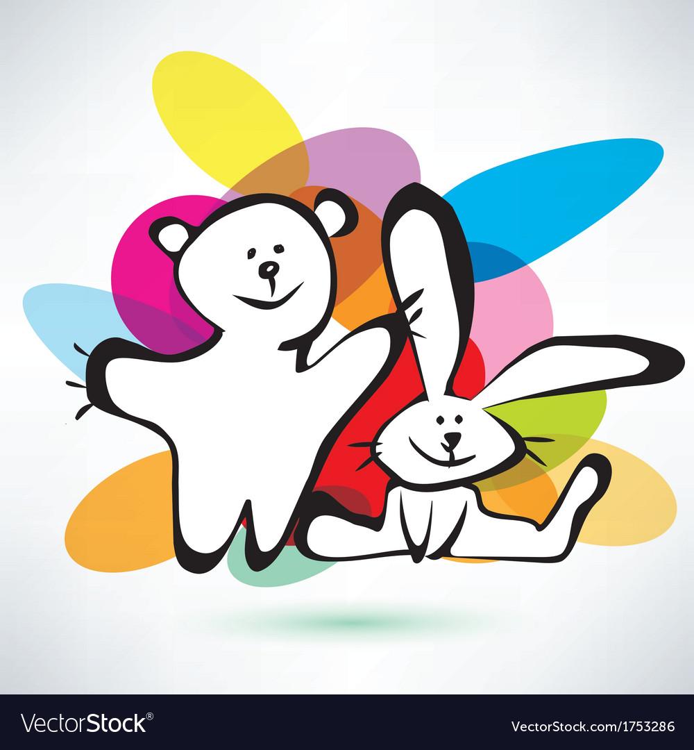 Teddy bear and bunny icons cartoon style vector | Price: 1 Credit (USD $1)