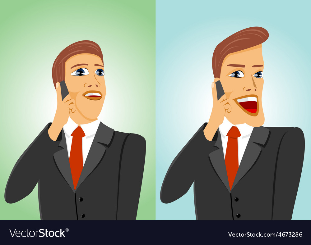 Two businessmen talking on the phone vector | Price: 1 Credit (USD $1)