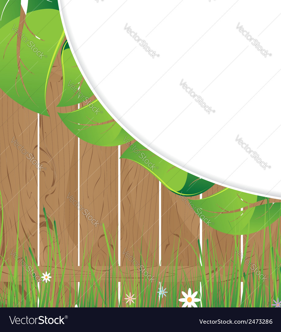 Wooden fence and lush foliage vector | Price: 1 Credit (USD $1)