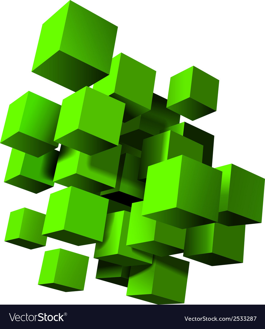 Abstract composition of green 3d cubes vector | Price: 1 Credit (USD $1)