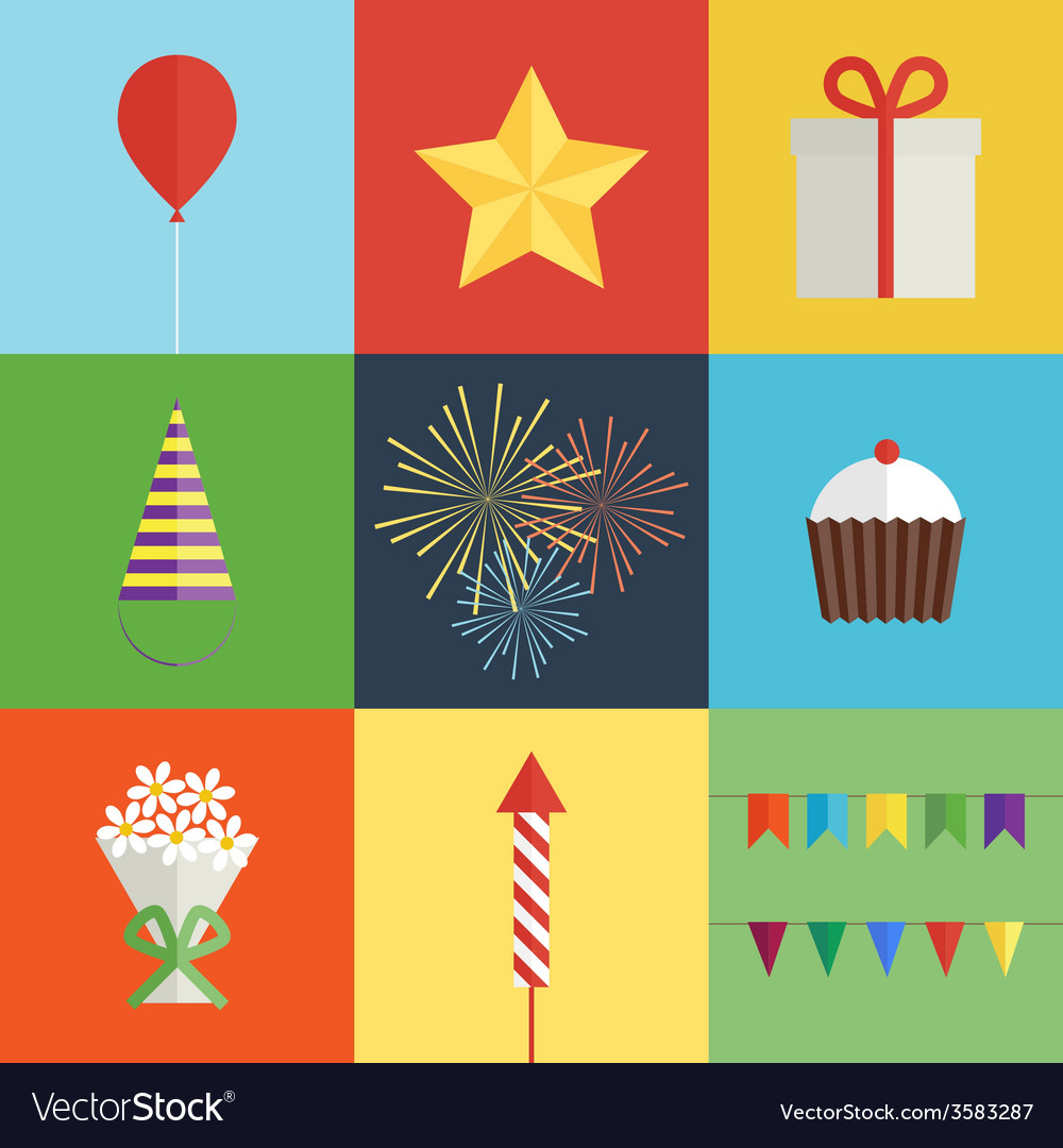 Birthday party icons set vector | Price: 1 Credit (USD $1)