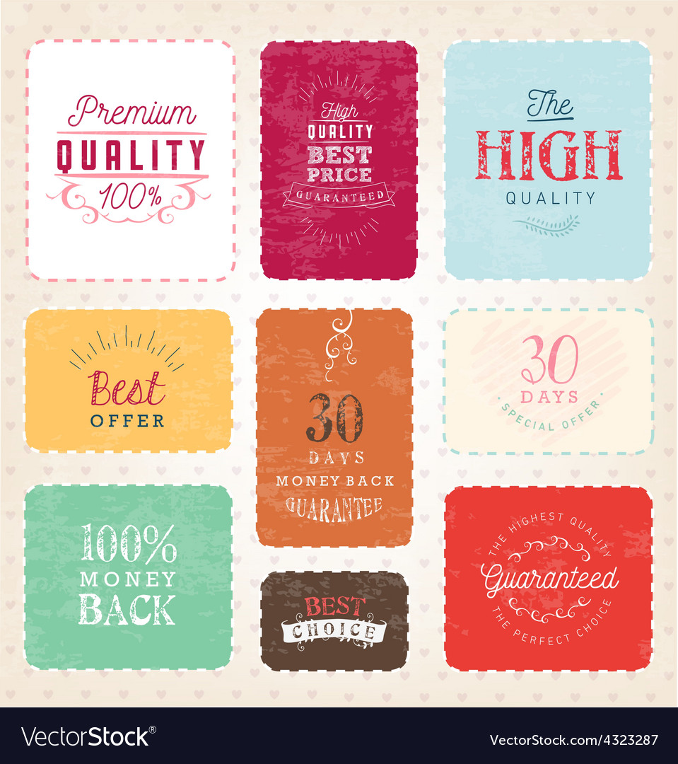 Colorful premium quality badges and labels vector | Price: 1 Credit (USD $1)