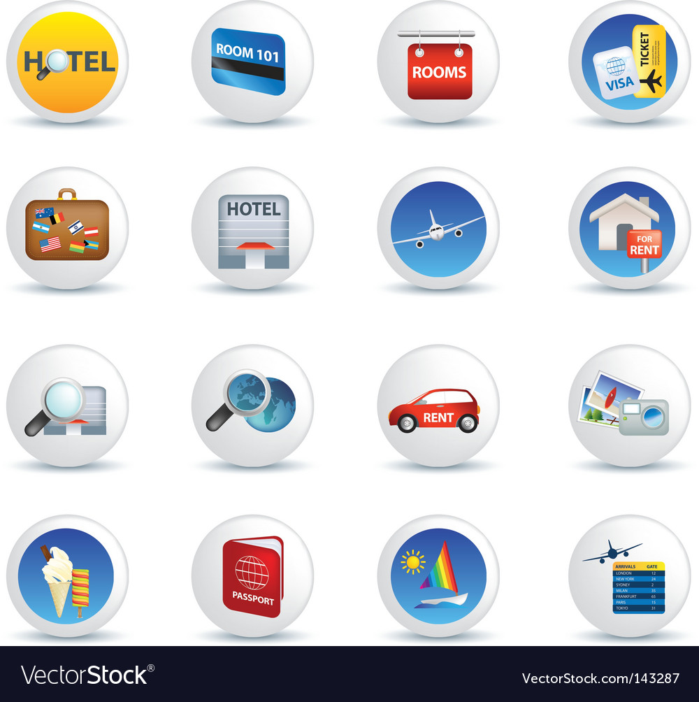Global travel icons vector | Price: 1 Credit (USD $1)