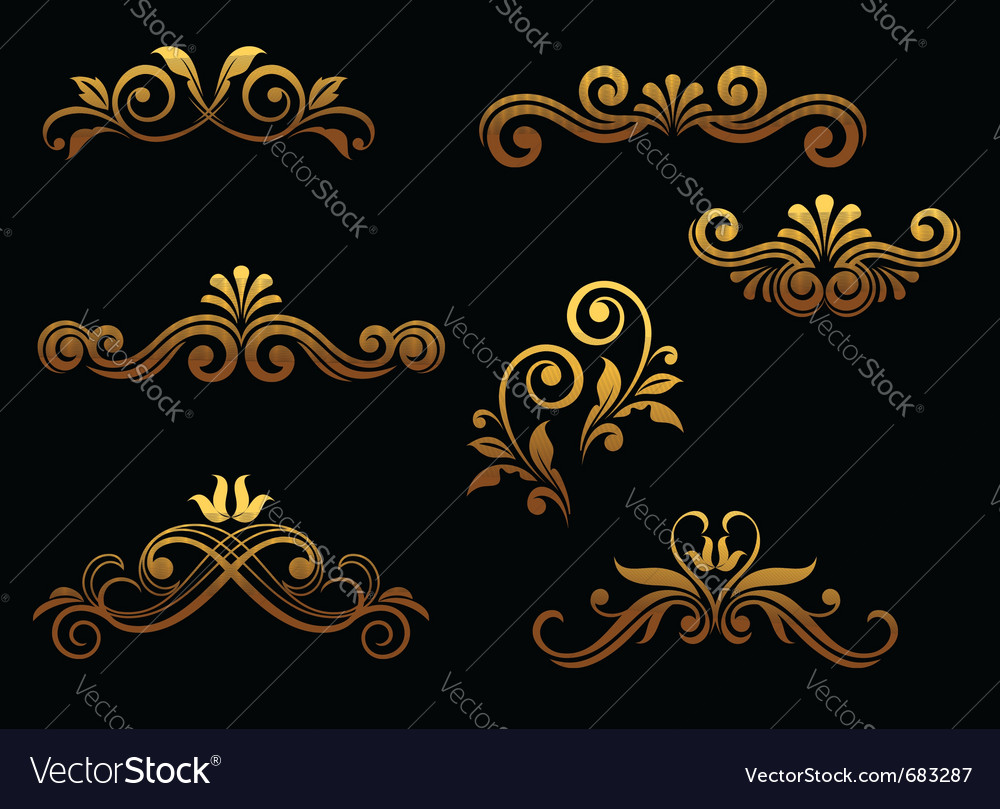 Golden vintage floral vector | Price: 1 Credit (USD $1)