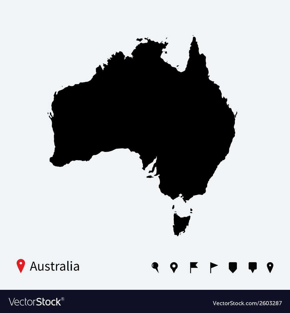High detailed map of australia with navigation vector   Price: 1 Credit (USD $1)
