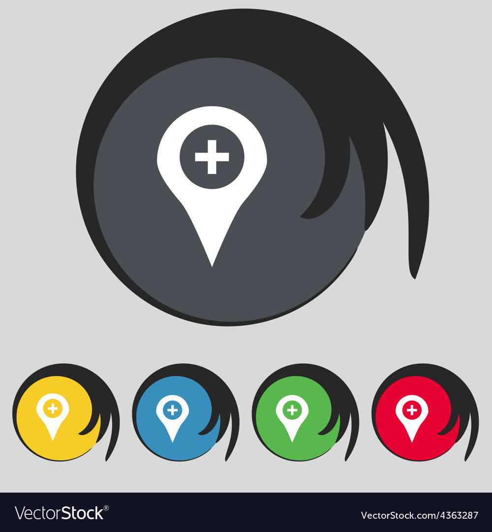 Plus map pointer gps location icon sign symbol on vector   Price: 1 Credit (USD $1)