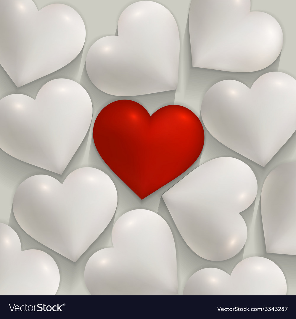 Romantic white and red hearts valentines vector | Price: 3 Credit (USD $3)