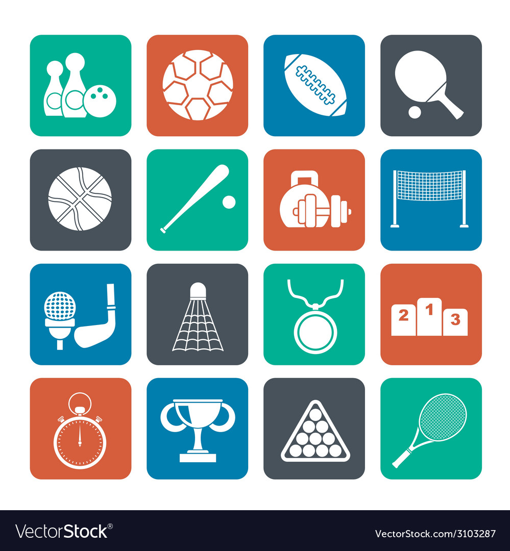 Silhouette sport equipment icons vector | Price: 1 Credit (USD $1)
