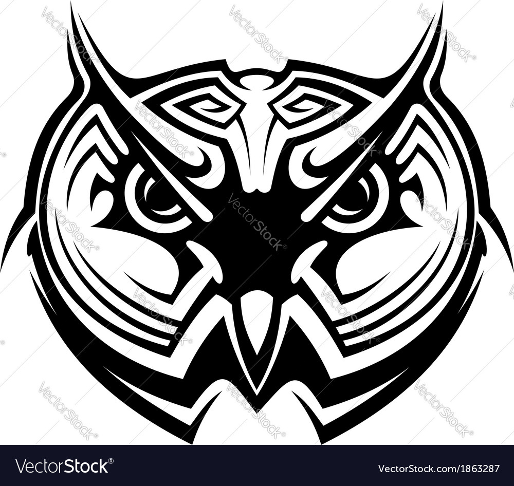 Tribal owl tattoo vector | Price: 1 Credit (USD $1)