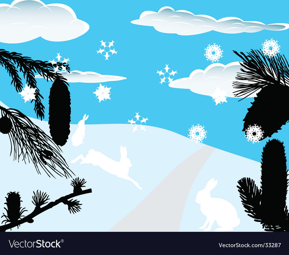 Winter forest vector | Price: 1 Credit (USD $1)