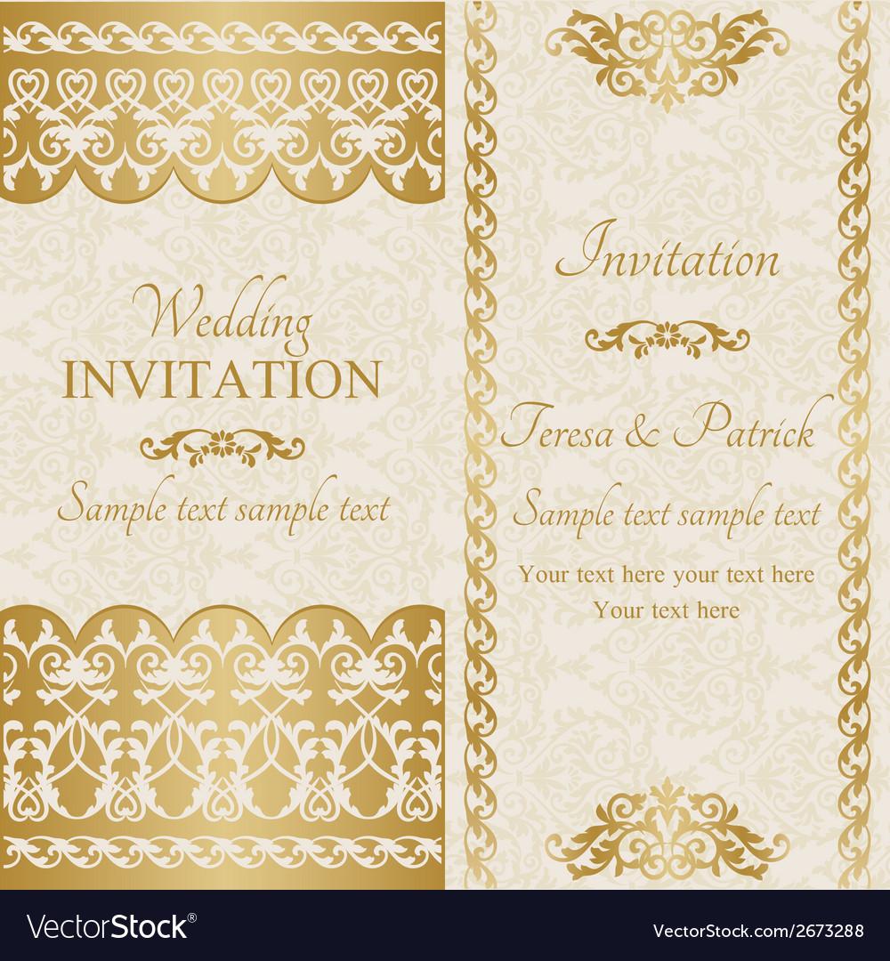 Baroque wedding invitation gold vector | Price: 1 Credit (USD $1)