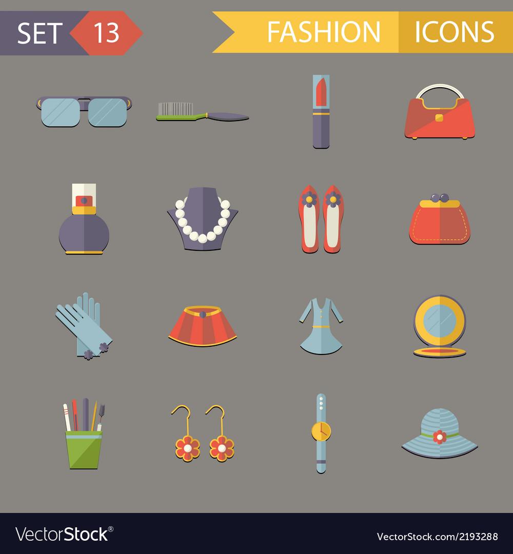 Flat design fashion symbols accessories icons set vector | Price: 1 Credit (USD $1)