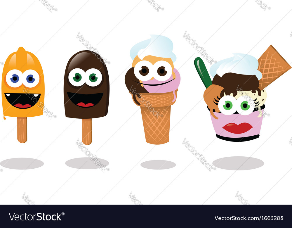Funny ice creams vector | Price: 1 Credit (USD $1)