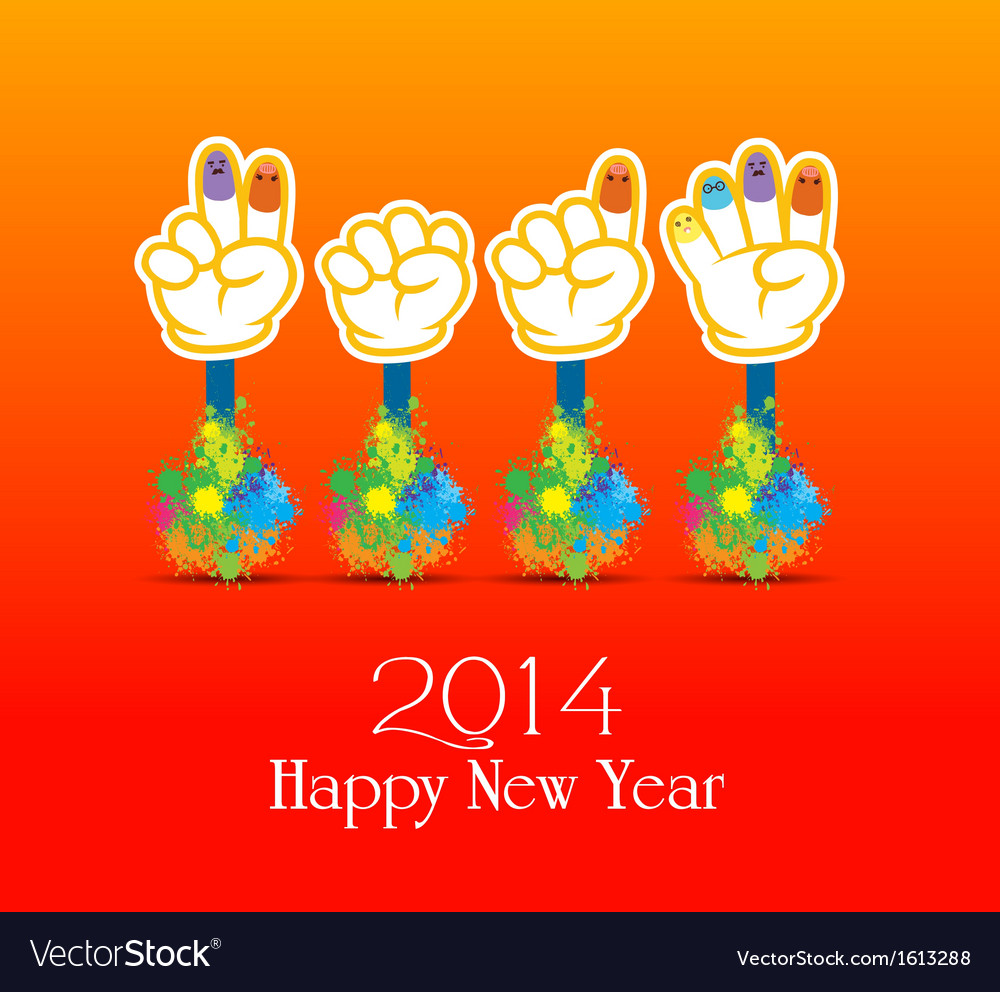 Happy new year 2014 colorful painting of hands vector | Price: 1 Credit (USD $1)