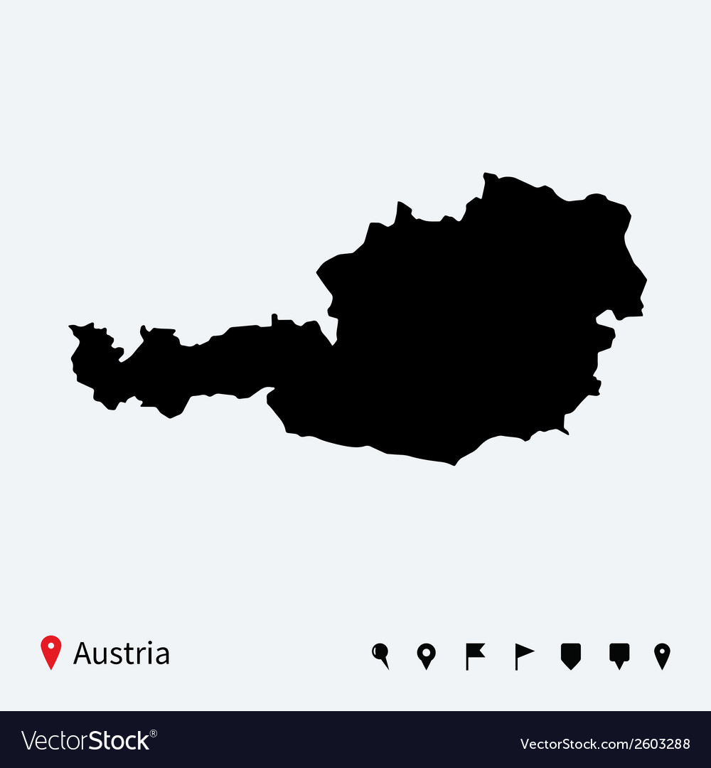 High detailed map of austria with navigation pins vector | Price: 1 Credit (USD $1)