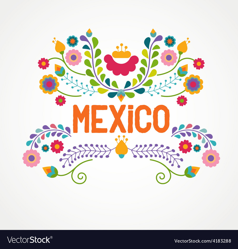 Mexico flowers pattern and elements vector | Price: 1 Credit (USD $1)