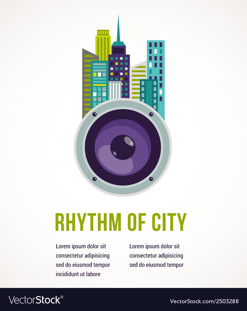 Music city - amplifier and buildings vector | Price: 1 Credit (USD $1)