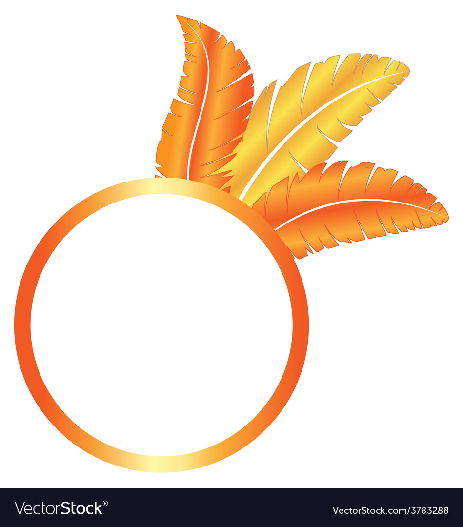 Orange blank frame ring with feathers vector | Price: 1 Credit (USD $1)