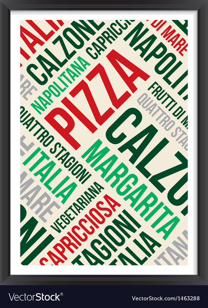 Pizza words cloud poster vector | Price: 1 Credit (USD $1)