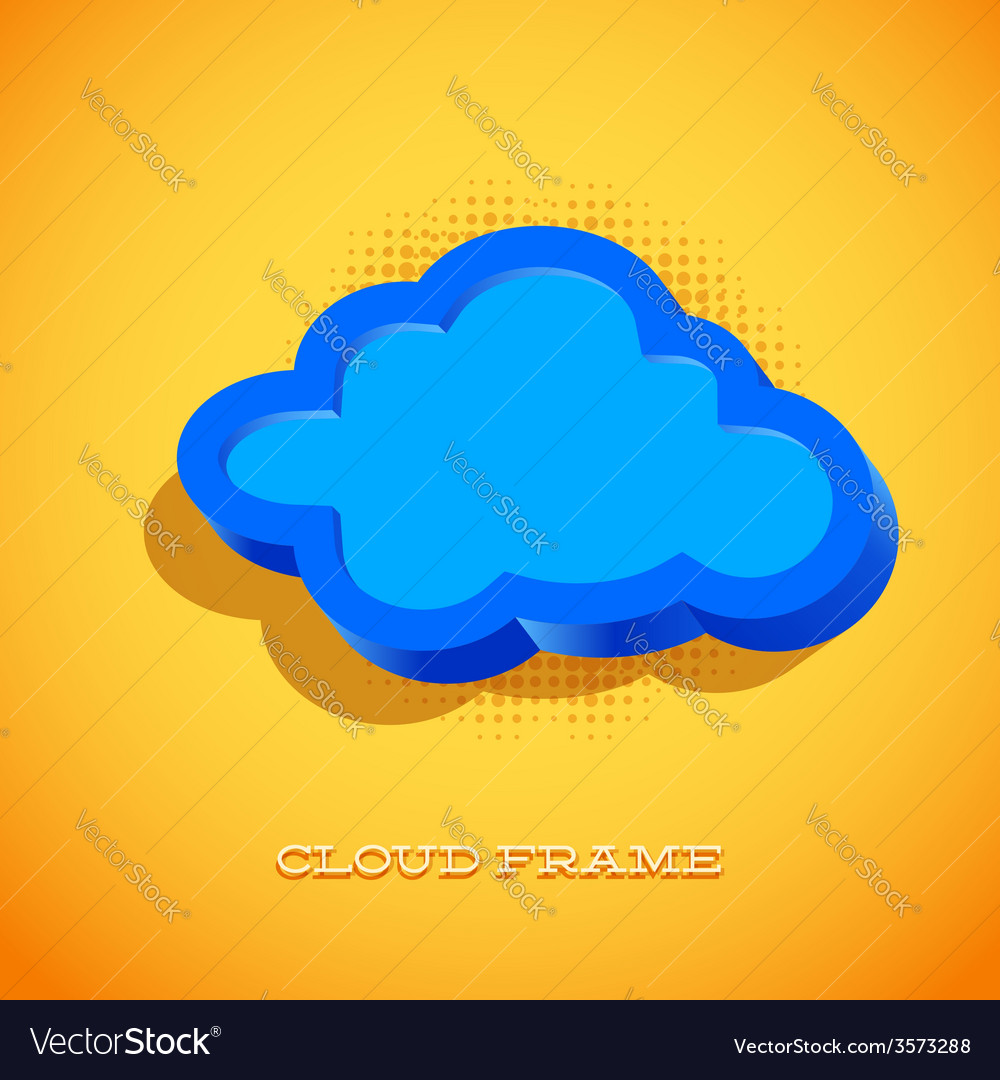Retro card with cloud sign vector | Price: 1 Credit (USD $1)
