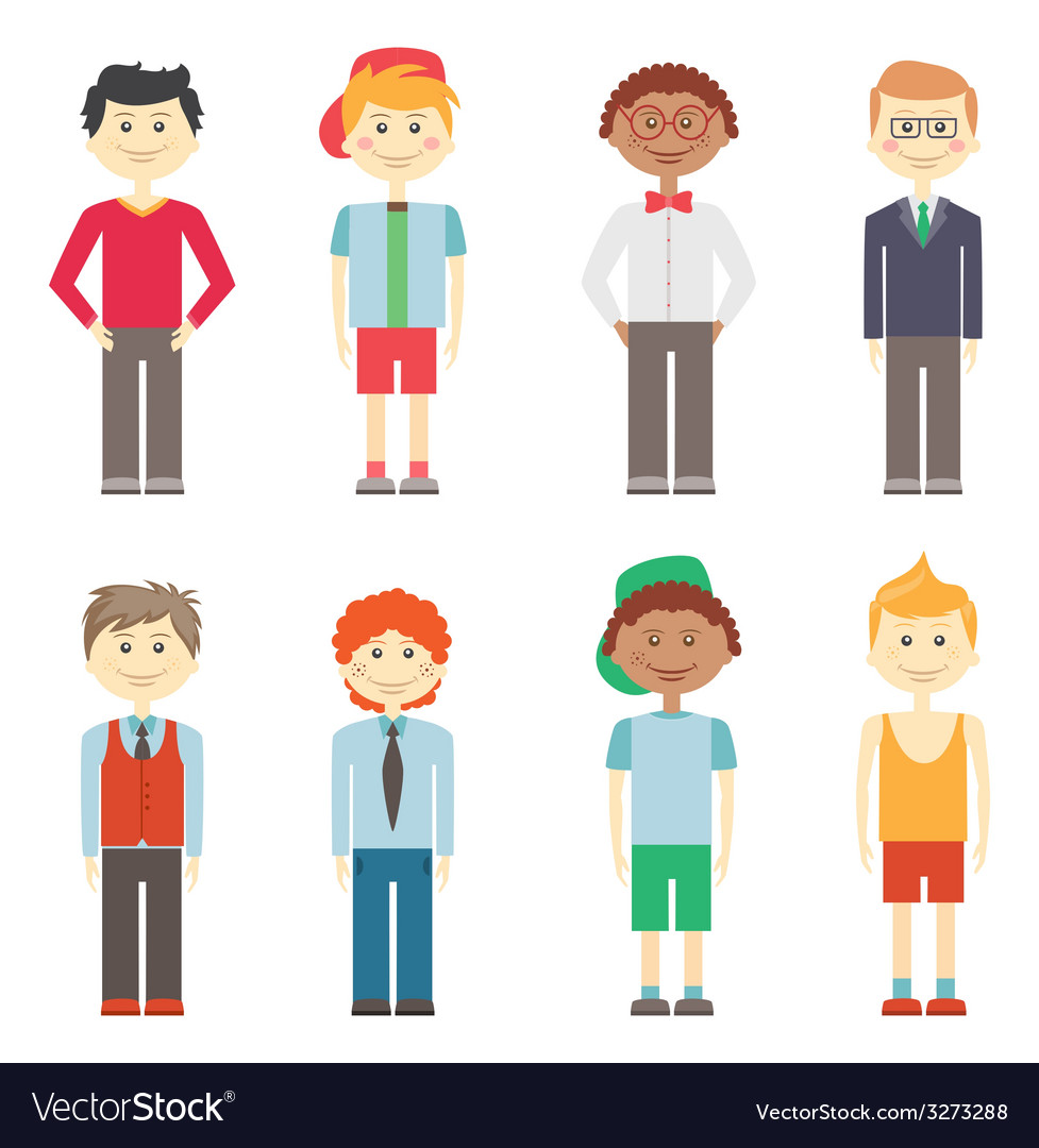 Set of boys in casual smart and sports clothes vector | Price: 1 Credit (USD $1)