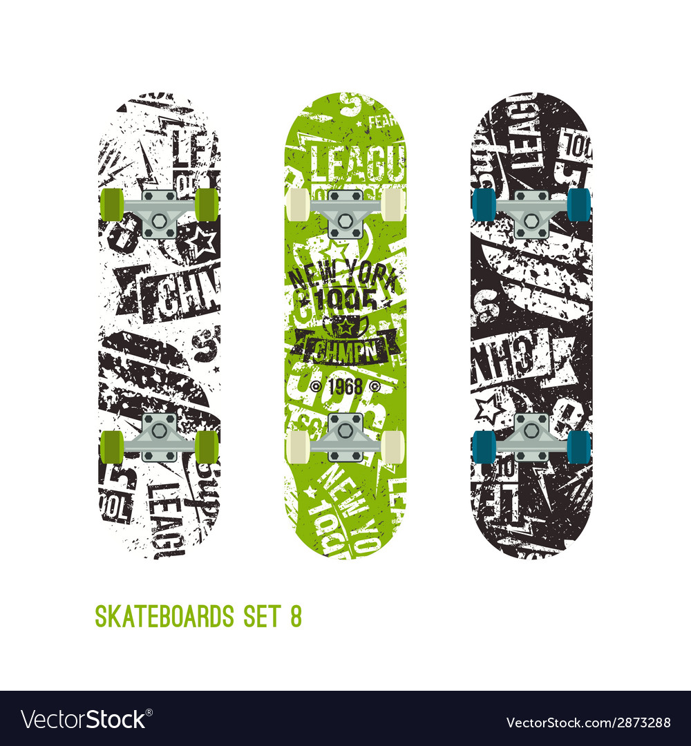 Set of retro vintage drawing on a skateboard vector | Price: 1 Credit (USD $1)