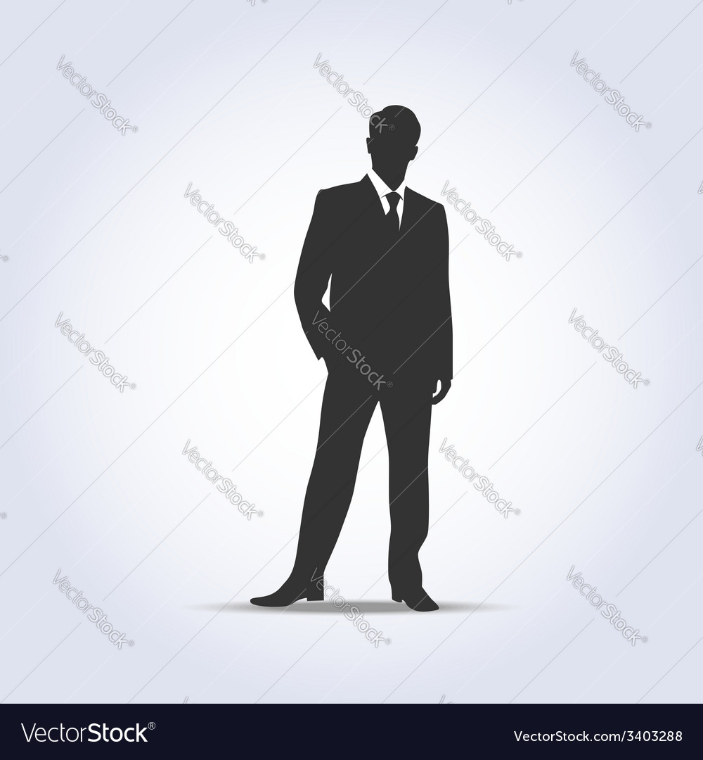 Standing businessman silhouette gray color vector | Price: 1 Credit (USD $1)