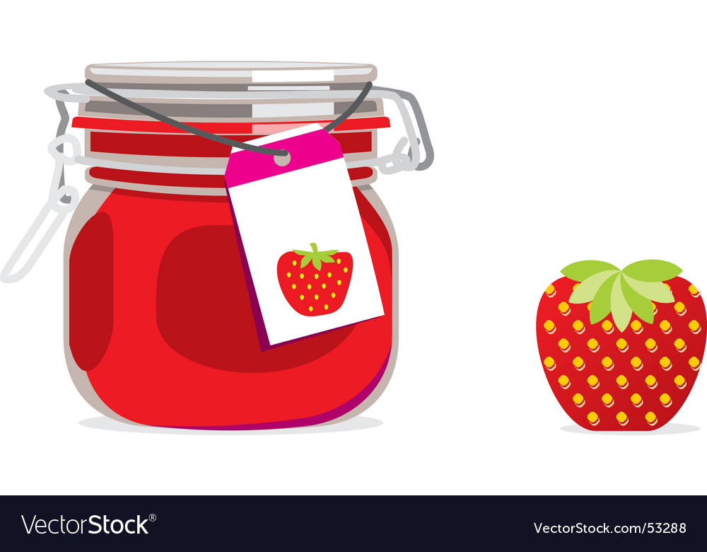 Strawberry jam jar and fruit vector | Price: 1 Credit (USD $1)