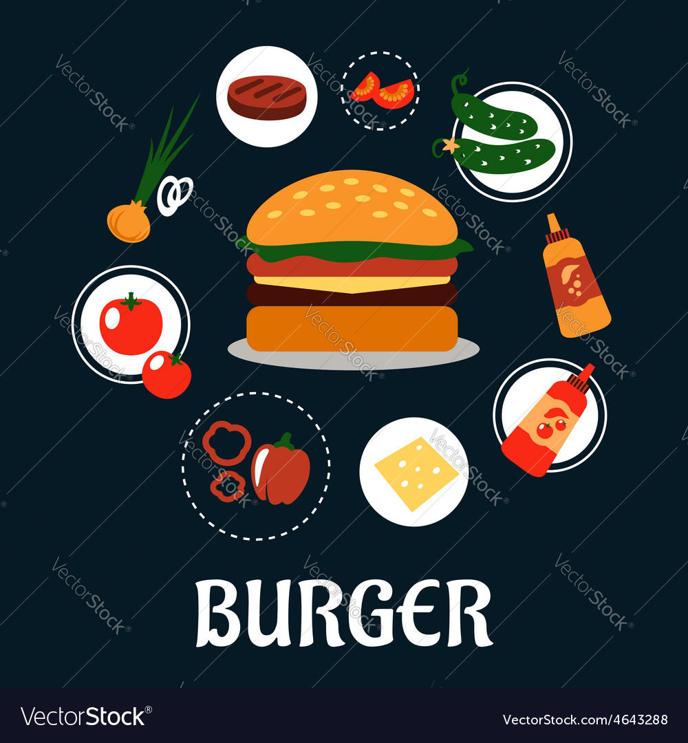 Tasty burger concept with ingredients vector | Price: 1 Credit (USD $1)